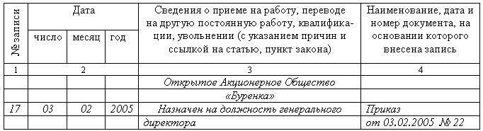 запись в трудовую книжку генерального директора о приеме на работу образец