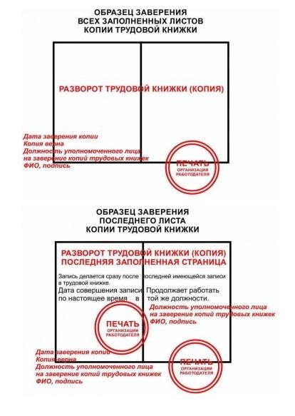 как правильно заверить копию трудового договора образец фото