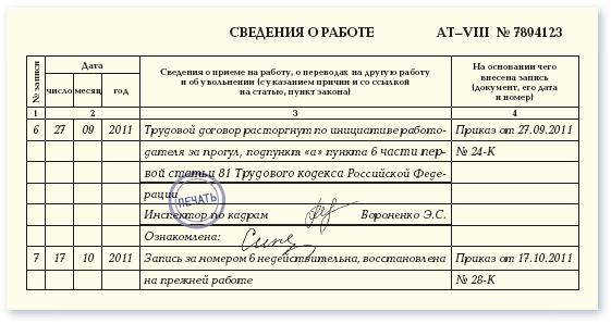 Запись «с записями в трудовой книжке ознакомлен»: образец