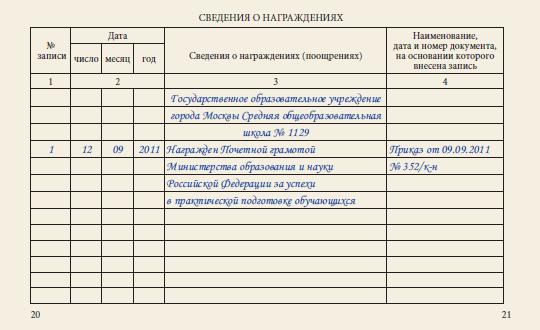 приказ за многолетний труд образец
