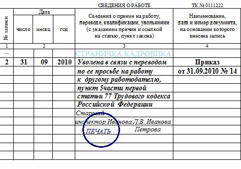 образец запись об увольнении в трудовой книжке