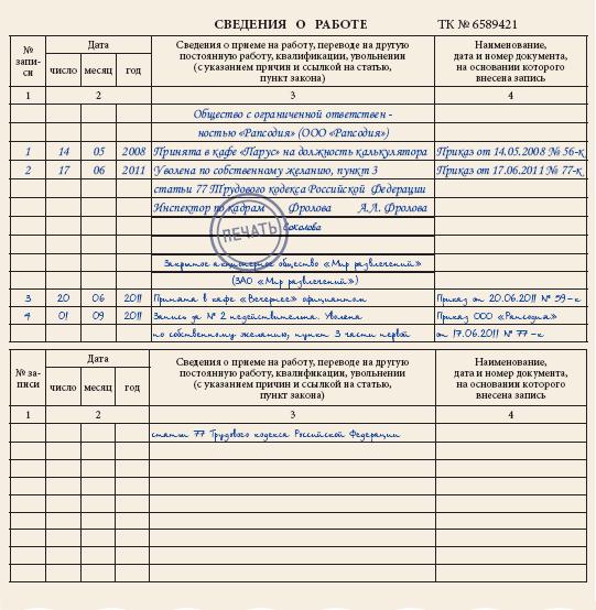 исправление даты увольнения в трудовой книжке образец