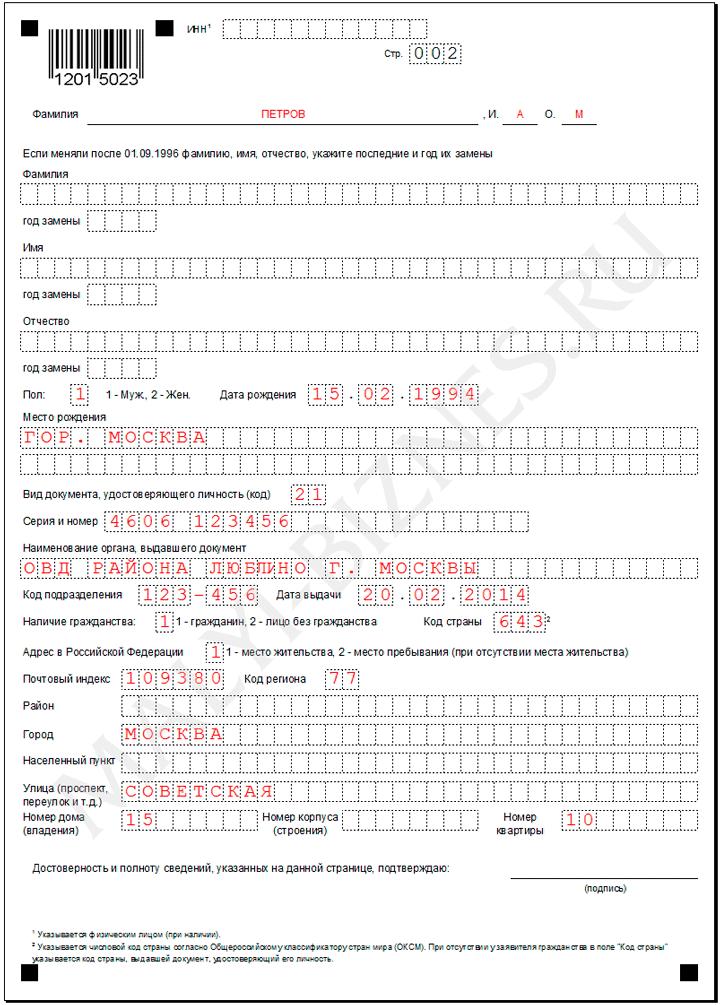 образец заполнения анкеты для инн - фото 6